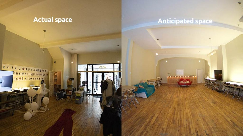 before and after image of a shooting space